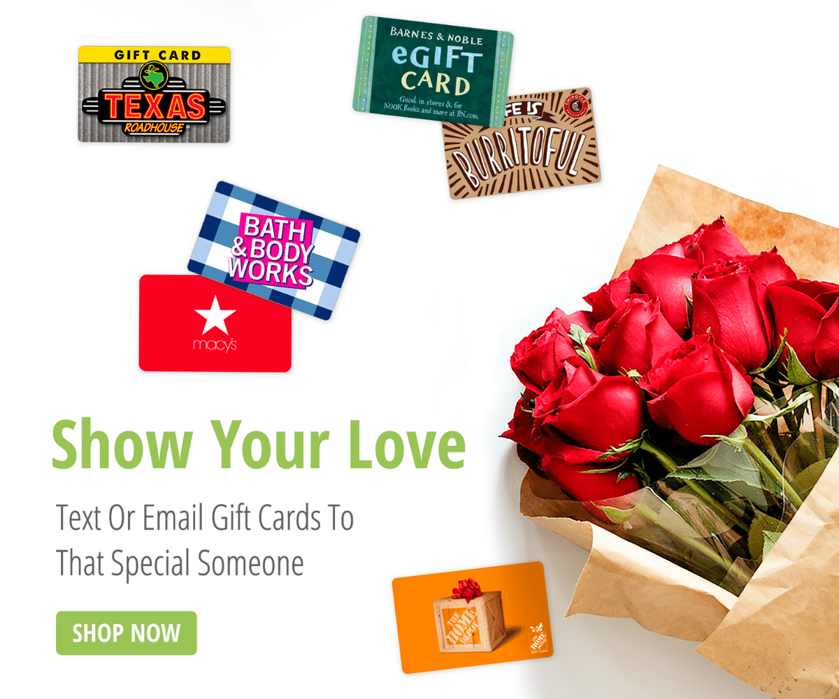 Text Email or Print Your Valentine's Day Gift Cards